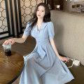 Dress Summer 2020 Blue dress S,M,L,XL longuette singleton  Short sleeve commute Admiral High waist Solid color Socket A-line skirt puff sleeve Others 18-24 years old Type A Korean version Button Chiffon polyester fiber