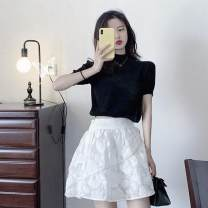 Dress Summer 2021 Black top, blue top, white skirt, black suit, blue suit S,M,L,XL Short skirt Two piece set Short sleeve commute Half high collar High waist Solid color Socket A-line skirt routine Others 18-24 years old Type A Retro Fold, splice, asymmetry More than 95% other cotton