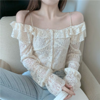 Lace / Chiffon Autumn 2020 Apricot S, M Long sleeves commute Socket singleton  Self cultivation have cash less than that is registered in the accounts One word collar Solid color routine 18-24 years old 236# Stitching, asymmetry, lace Retro 91% (inclusive) - 95% (inclusive) polyester fiber