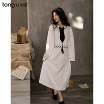Nightdress Tongues 160(M) 165(L) 170(XL) Simplicity Long sleeves Leisure home longuette spring Solid color youth Crew neck cotton printing More than 95% pure cotton Z1010 220g Spring 2021 Cotton 100% Pure e-commerce (online only)