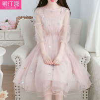 Dress Summer 2021 Pink apricot grey blue S M L longuette singleton  Short sleeve commute Crew neck High waist Solid color Socket routine 18-24 years old Hidina Korean version More than 95% other Other 100%