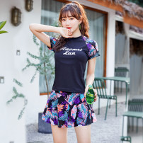Split swimsuit Independent brand M recommended 75-95 Jin, l recommended 90-110 Jin, XL recommended 105-120 Jin, XXL recommended 115-130 Jin, 3XL recommended 125-139 Jin, 4XL recommended 135-155 Jin Skirt split swimsuit With chest pad without steel support female stand collar