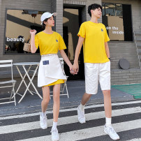 T-shirt S M L XL 2XL 3XL Summer 2021 Short sleeve Crew neck easy Regular routine commute polyester fiber 86% (inclusive) -95% (inclusive) 18-24 years old Korean version classic Mu Qingyu (clothing) Other polyester 95% 5% Pure e-commerce (online only)