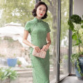 cheongsam Summer of 2019 S,M,L,XL,2XL Grey green 110cm long collar height 4cm Short sleeve Qipao literature Low slit daily Oblique lapel houndstooth  25-35 years old Piping 923Q01JZ3LE E. Beauty / Beauty polyester fiber 96% and above