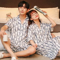 Pajamas / housewear set lovers Daymeey / daimi M L XL XXL XXXL Yyz908 women's yyz905 men's yyz901 women's yyz885 men's yyz913 women's yyz915 men's Polyester (polyester) Short sleeve Simplicity pajamas summer Thin money Small lapel letter shorts double-breasted youth 2 pieces rubber string silk