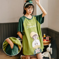 Pajamas / housewear set female Daymeey / daimi (lower body missing, fashionable and sexy, can be worn out) m (suitable for 75-100kg) l (suitable for 100-125kg) XL (suitable for 125-150kg) XXL (suitable for 150-180kg) cotton Short sleeve Sweet Leisure home summer Thin money Crew neck Cartoon animation