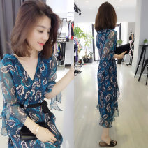 Dress Autumn of 2019 Graph color S M L Mid length dress singleton  three quarter sleeve street V-neck High waist Decor Socket Ruffle Skirt Lotus leaf sleeve Others 30-34 years old Type A Fanlis Lotus leaf edge F182n02614p01027 More than 95% Chiffon polyester fiber Polyester 100% Europe and America