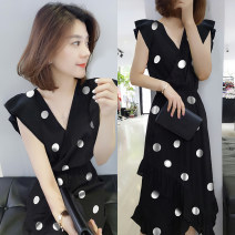 Dress Summer of 2019 black S M L Mid length dress singleton  Sleeveless street V-neck High waist Dot Socket other routine Others 30-34 years old Fanlis F192t02901p More than 95% polyester fiber Polyester 96.3% other 3.7% Pure e-commerce (online only) Europe and America