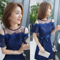 Dress Summer of 2019 blue S M L XL Middle-skirt singleton  Short sleeve street Crew neck High waist Solid color Socket A-line skirt pagoda sleeve 30-34 years old Type A Fanlis Bowknot mesh lace F192t04643p 81% (inclusive) - 90% (inclusive) polyester fiber Polyester 90% other 10% Europe and America