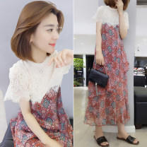 Dress Summer 2020 The design is yellow S M L XL Mid length dress singleton  Short sleeve street Crew neck High waist other Socket One pace skirt routine Others 30-34 years old Type A Fanlis F192t03144p01 81% (inclusive) - 90% (inclusive) polyester fiber Polyester 90% other 10% Europe and America