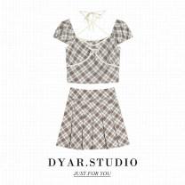 Fashion suit Summer 2021 S,M,L,XL Khaki top, Khaki Skirt, suit DYAR-6246 96% and above polyester fiber