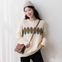 sweater Winter 2020 S M L Beige Long sleeves Socket singleton  Regular acrylic fibres 31% (inclusive) - 50% (inclusive) Crew neck thickening routine other Straight cylinder Regular wool Keep warm and warm 18-24 years old Mo Xiaoxi NY5254203-1 Embroidery Exclusive payment of tmall