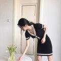 Dress Summer 2021 Black, apricot white S,M,L,XL Short skirt singleton  Short sleeve commute V-neck Solid color Socket A-line skirt Other / other Korean version Button