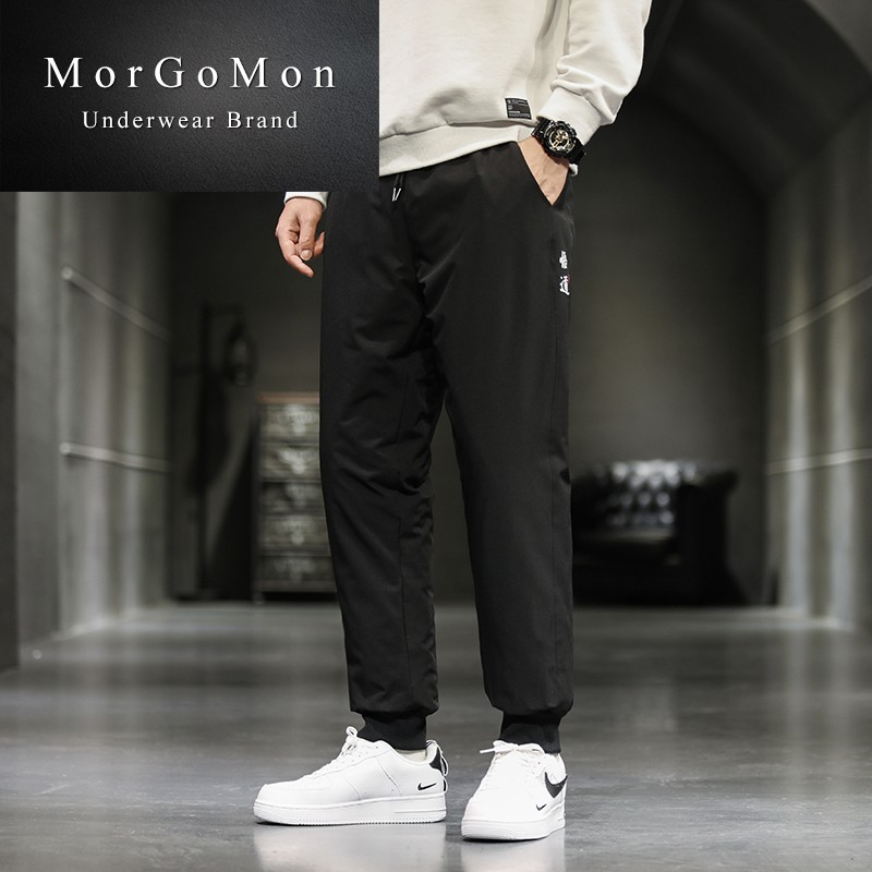 Down pants Morgomon / mugerman 6007 6008 short three bar 6009 long three bar 6010 tooling black M L XL 2XL 3XL 4XL 5XL Youth fashion trousers Wear out More than 90% white duck down leisure time youth 26JR-SX0017 tide Slim fit Solid color Other 100% Waist drawstring Winter 2020 winter