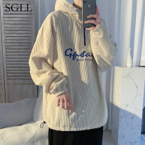 Sweater Youth fashion Time Lulu Black grey Beige M L XL 2XL 3XL letter Socket routine Hood spring easy Travel? youth tide routine W2021171427 flannelette Polyester 92% polyamide 8% polyester fiber printing washing Spring 2021 Save pocket simple style  zipper 90% (inclusive) - 95% (inclusive)