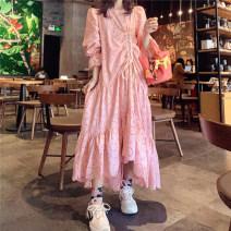 Dress Summer 2020 White, pink longuette Long sleeves commute Crew neck Ruffle Skirt Korean version 81% (inclusive) - 90% (inclusive) Lace