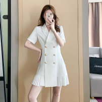 Dress Summer 2021 white S M L XL Short skirt other Short sleeve commute tailored collar High waist Solid color double-breasted Pleated skirt routine Others 18-24 years old Type A Qinze language Korean version Stitched button zipper HZC2104-502 71% (inclusive) - 80% (inclusive) polyester fiber