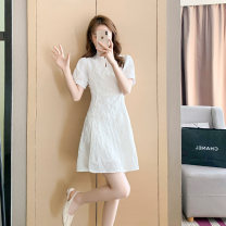 Dress Summer 2021 white S M L XL Short skirt singleton  Short sleeve commute Crew neck High waist Solid color zipper A-line skirt routine Others 18-24 years old Type A Qinze language Korean version Button zipper HZC2104-505 71% (inclusive) - 80% (inclusive) polyester fiber Polyester 80% other 20%