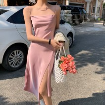 Dress Summer 2021 Ice cream, dry rose, elegant black S,M,L Mid length dress singleton  Sleeveless commute other High waist Solid color zipper A-line skirt routine camisole 18-24 years old Type A Korean version Zipper, asymmetric, open back, flocking, pleating, original Silk and satin