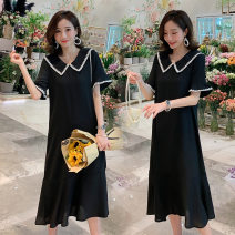 Dress yunmama Black [pregnant], black [breast feeding] M,L,XL,XXL Korean version Short sleeve Medium length summer Lapel Solid color High custom cotton 3C1198915A