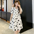 Nursing clothes white M,L,XL,2XL Other / other Tether summer Short sleeve Medium length leisure time Dress Dot Side opening Chiffon