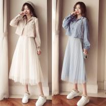 Women's large Spring 2021 Light blue, Khaki Large L, large XL, s, M Dress Two piece set moderate Socket Long sleeves routine 96% and above Medium length other
