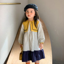 Dress Decor female Other / other 80cm,90cm,100cm,110cm,120cm Cotton 100% spring and autumn leisure time Long sleeves lattice cotton A-line skirt Class A 2 years old, 3 years old, 4 years old, 5 years old, 6 years old, 7 years old, 8 years old