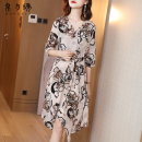 Dress Spring 2020 Light grey S M L XL 2XL longuette singleton  elbow sleeve commute V-neck middle-waisted Decor Socket Big swing routine 30-34 years old Type A Silk and embroidery lady Lace up button print ZL20280 More than 95% Crepe de Chine silk Mulberry silk 100% Pure e-commerce (online only)
