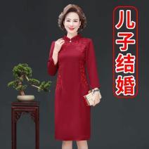 Middle aged and old women's wear Summer 2021 Dress singleton  Decor 50-59 years old Socket moderate Crew neck Medium length Medium length