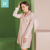 Nightdress I'd / AIDI 6187318311 pink 6187318311 silver grey M L XL Simplicity Long sleeves pajamas Middle-skirt autumn Solid color youth Small lapel cotton Embroidery 61% (inclusive) - 80% (inclusive) Towel / terry fabric 280g Autumn 2020 Cotton 80% polyester 20%