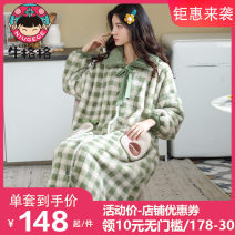 Nightdress M L XL 2XL Sweet Long sleeves Leisure home longuette winter lattice youth Small lapel Polyester (polyester) Sticking cloth More than 95% Flannel Winter 2020 Polyester 100% Pure e-commerce (online only)