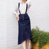skirt Summer 2020 XS,S,M,L,XL navy blue Mid length dress Versatile High waist Strapless skirt Solid color Type H 25-29 years old 6091- 91% (inclusive) - 95% (inclusive) Denim cotton Pocket, asymmetric, button, stitching 401g / m ^ 2 (inclusive) - 500g / m ^ 2 (inclusive)