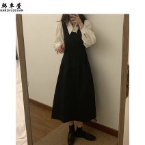 Dress Spring 2021 White shirt black dress Average size longuette singleton  Long sleeves commute V-neck High waist Solid color Socket A-line skirt routine straps 18-24 years old Han Zhuoxian zipper 20TX0560 More than 95% other Other 100% Exclusive payment of tmall