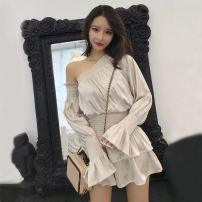 Dress Autumn of 2018 Apricot, black S, M Short skirt singleton  Long sleeves Solid color Socket Cake skirt pagoda sleeve 18-24 years old Type X Ruffles, folds, stitches, asymmetry