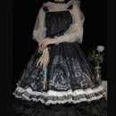 Dress Summer 2020 Black jsk, black jsk + airplane box S,M,L Mid length dress singleton  Sweet One word collar Princess Dress Others Lolita