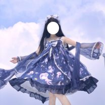 Dress Summer 2021 Light blue jsk, purple jsk, dark blue jsk, white shawl, purple shawl, dark blue shawl, a pair of white sleeves, a pair of purple sleeves, a pair of dark blue sleeves Average size Mid length dress singleton  Sweet One word collar Princess Dress Lolita