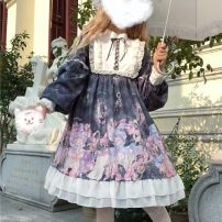 Dress Winter of 2019 Sky blue + airplane box, ink gray + airplane box, elegant purple + airplane box S, M Middle-skirt singleton  Long sleeves Sweet stand collar High waist Cartoon animation Ruffle Skirt bishop sleeve 18-24 years old Type A Other / other 51% (inclusive) - 70% (inclusive) Lolita