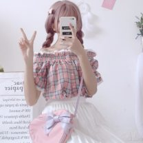 shirt Pink, blue Average size Summer of 2019 cotton 30% and below Short sleeve Sweet Short style (40cm < length ≤ 50cm) One word collar Socket routine lattice 18-24 years old Straight cylinder Other / other