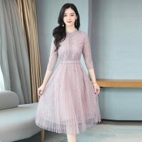 Dress Spring 2020 Lotus root color S M L XL Mid length dress singleton  three quarter sleeve commute Crew neck middle-waisted Solid color Socket Big swing routine Others 35-39 years old Type A Xi Li Korean version 9102-GGC More than 95% other Other 100% Pure e-commerce (online only)