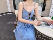 Dress Summer 2021 blue Average size Mid length dress singleton  Sleeveless commute High waist Solid color A-line skirt camisole 25-29 years old Type A Korean version Denim