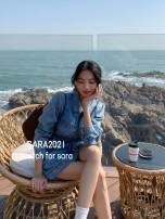 Dress Spring 2021 blue S, M Short skirt singleton  Long sleeves commute High waist Solid color 25-29 years old Korean version pocket Denim