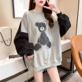 Sweater / sweater Spring 2021 White dark blue grey M L XL XXL Long sleeves Medium length Socket singleton  routine Crew neck easy commute routine Cartoon animation 18-24 years old 71% (inclusive) - 80% (inclusive) Qianfulin Korean version polyester fiber Elegant Patch printing cotton Cotton liner