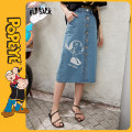 skirt Summer 2020 S M L Denim blue denim blue a denim blue B Mid length dress street Natural waist A-line skirt Type A 18-24 years old ten million two hundred and seventeen thousand and twenty-three More than 95% Elf sack / goblin's pocket other printing Other 100% Europe and America