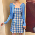 Dress Summer 2020 Blue cardigan, suspender skirt S. M, l, average size Short skirt Sleeveless commute High waist other other camisole 18-24 years old Korean version 31% (inclusive) - 50% (inclusive) other other