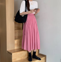 skirt Spring 2021 S, M White, pink longuette commute High waist A-line skirt Solid color Type A 18-24 years old 51% (inclusive) - 70% (inclusive) other fold Korean version