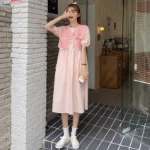 Dress Summer 2021 White, pink, blue Average size Mid length dress Two piece set Short sleeve commute Crew neck 18-24 years old Korean version 31% (inclusive) - 50% (inclusive) other