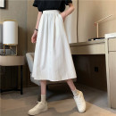 skirt Summer 2021 Average size White, black Mid length dress commute High waist Umbrella skirt Type A 18-24 years old 31% (inclusive) - 50% (inclusive) Korean version