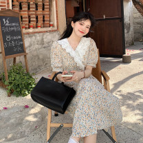 Dress Summer 2021 Picture color Average size longuette singleton  Short sleeve commute V-neck High waist Decor Socket A-line skirt routine Others 18-24 years old Type A Korean version 31% (inclusive) - 50% (inclusive)