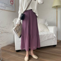 skirt Summer 2020 Average size White, purple, black Mid length dress commute High waist Pleated skirt Solid color Type A 18-24 years old 31% (inclusive) - 50% (inclusive) Chiffon Korean version