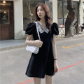 Dress Summer 2021 black Average size Short skirt singleton  Short sleeve commute Polo collar High waist Solid color A-line skirt puff sleeve 18-24 years old Type A Korean version Lace 31% (inclusive) - 50% (inclusive)